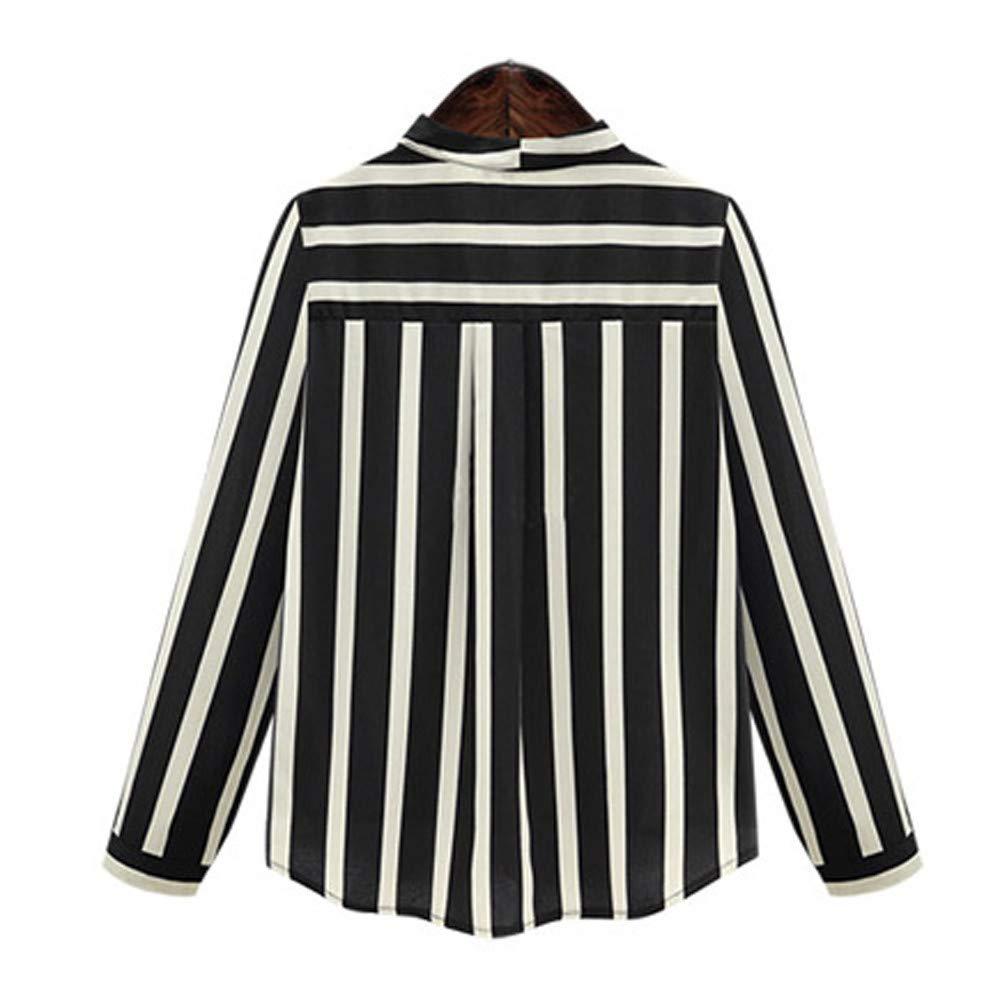 Luckycat Las Mujeres más tamaño de Rayas Oficina de la señora de Manga Larga con Cuello en v Blusa de Trabajo Camisa Top: Amazon.es: Ropa y accesorios
