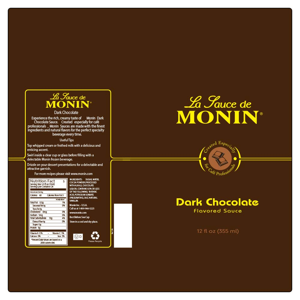 Monin - Gourmet Dark Chocolate Sauce, Velvety and Rich, Great for Desserts, Coffee, and Snacks, Gluten-Free, Vegan, Non-GMO (64 Ounce) by Monin (Image #8)