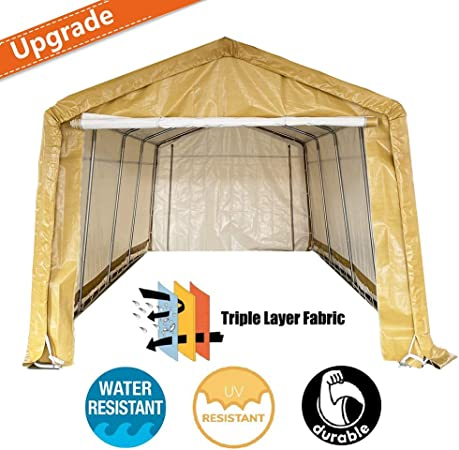 Amazon Com Kdgarden 10 X 20 Heavy Duty Carport Portable Garage Enclosed Car Canopy Outdoor Instant Shelter Party Tent With Sidewalls For Auto And Boat Storage Upgrade Waterproof And Uv Treated Fabric Khaki Garden