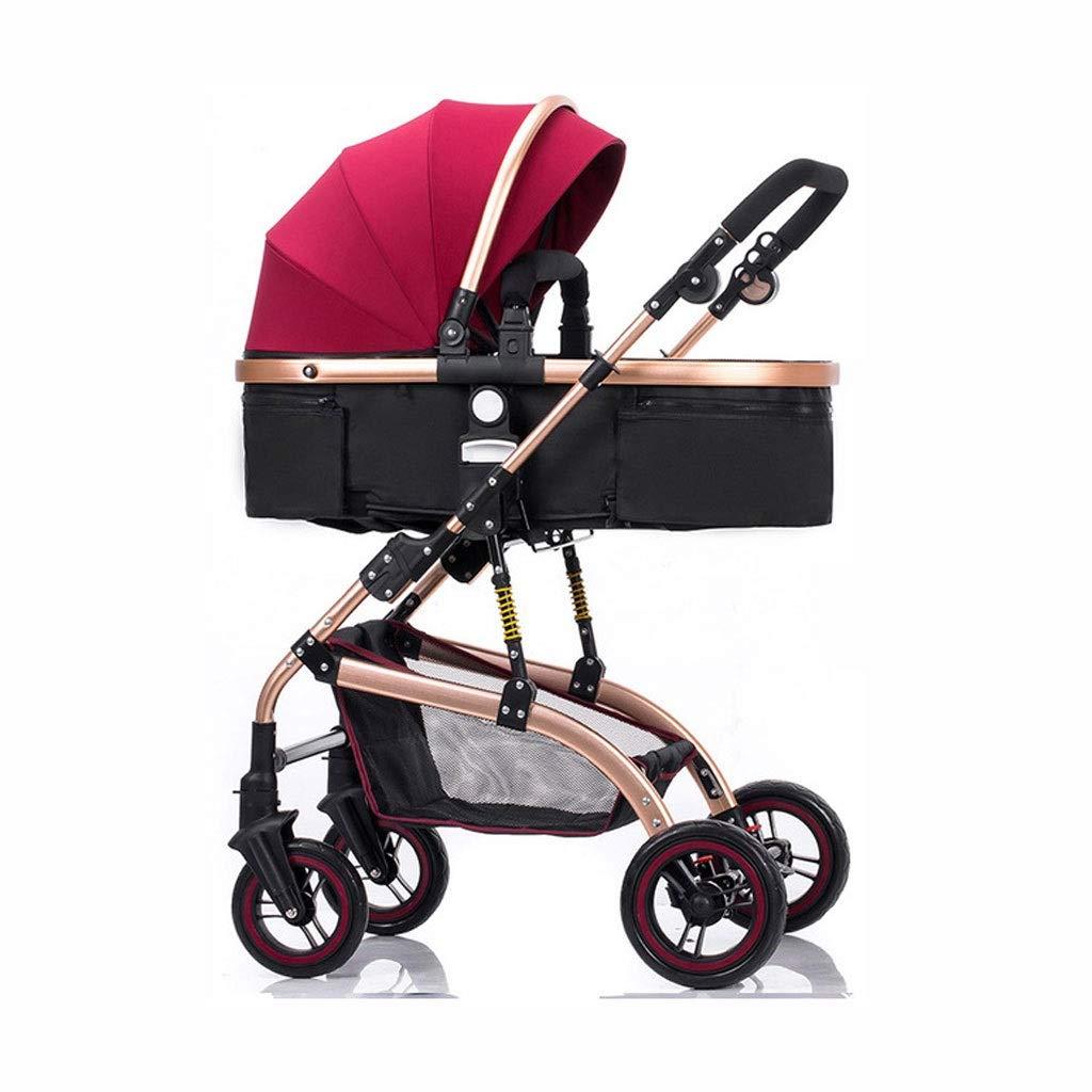 高い景色のベビーカーは軽量の折りたたみの衝撃吸収材のベビーカーの赤ん坊の子供のトロリーをリクライニングすることができます (色 : C)  C B07PG4P8KB