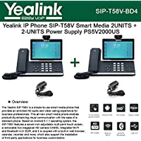 Yealink SIP-T58V 2PACK IP Phone Smart Media + 2PACK Power Supply PS5V2000US 5V