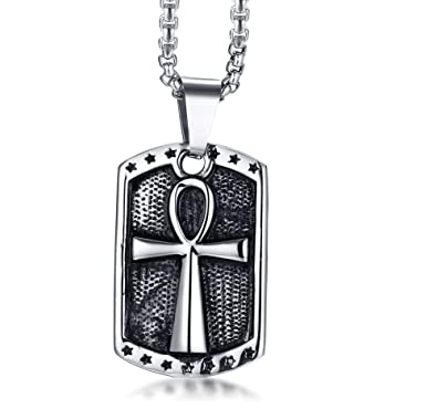 Mp Antique Mens Stainless Steel Egyptian Star Ankh Cross Of Life