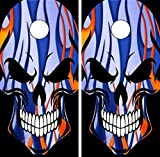 C188 Skull Flames CORNHOLE WRAP WRAPS LAMINATED Board Boards Decal Set Decals Vinyl Sticker Stickers Bean Bag Game Vinyl Graphic Tint Image