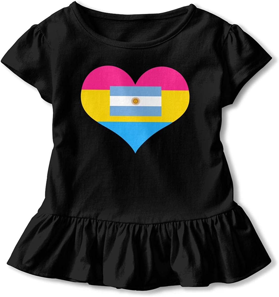 GNKTGBO2O Toddler Girls Pansexual Heart Argentina Flag 100/% Cotton T Shirts Short Sleeve Ruffle Tee Basic Tops
