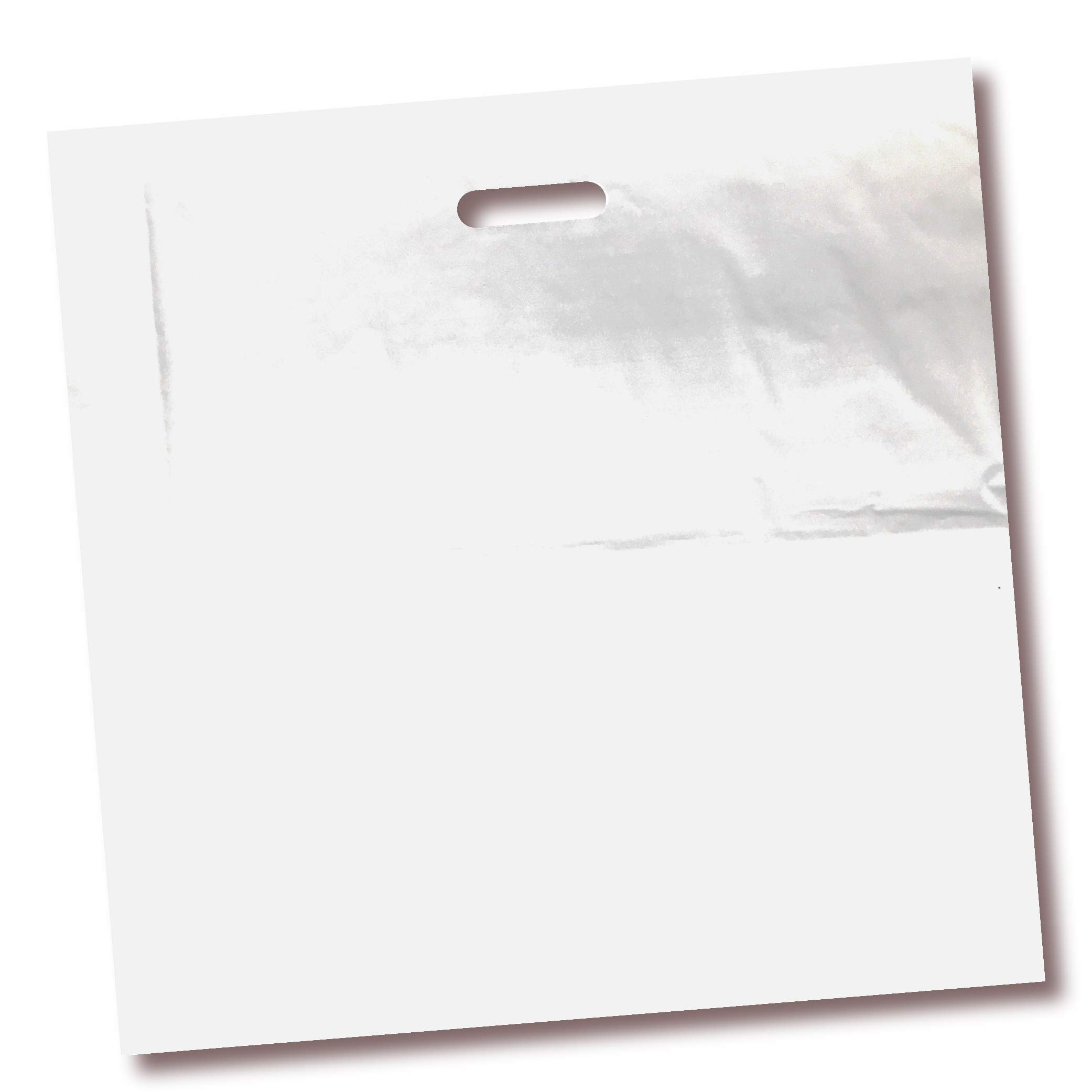 100 Pack 18'' x 18'' with 2 mil Thick White Merchandise Plastic Glossy Retail Bags | Die Cut Handles | Perfect for Shopping, Party Favors, Birthdays, Children Parties | Color White | 100% Recyclable