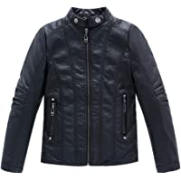 LOKTARC Boys Stand Collar Faux Leather Coat Motorcycle Jacket