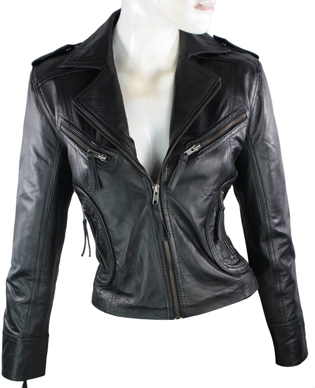 Ladies Short Leather Jacket Fitted Biker Style Black Retro: Amazon ...