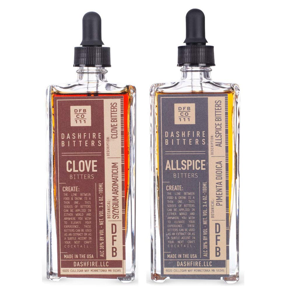 Dashfire Cocktail Bitters Spiced Variety 2 Pack - Allspice & Clove - 3.4 oz (100ml)