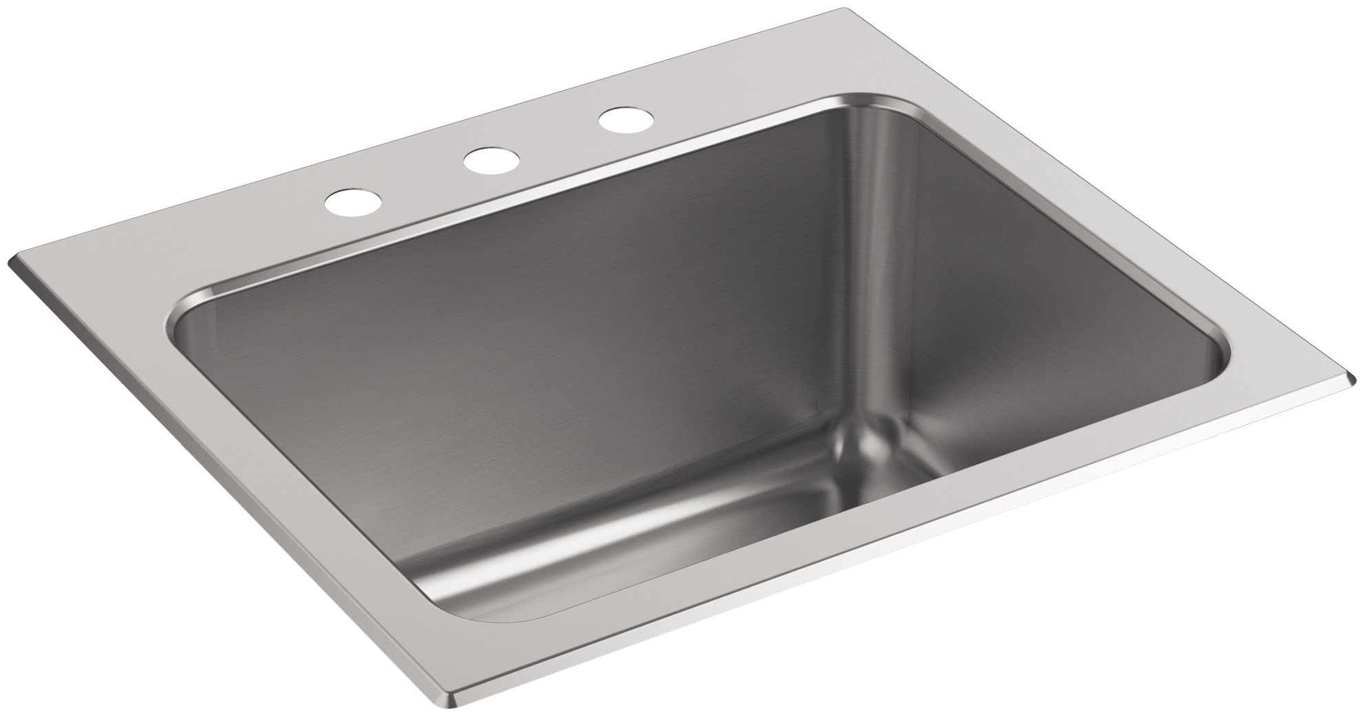 KOHLER K-5798-3-NA Ballad 25-Inch x 22-Inch Top-Mount Utility Sink with 3 Faucet Holes, Stainless Steel by Kohler