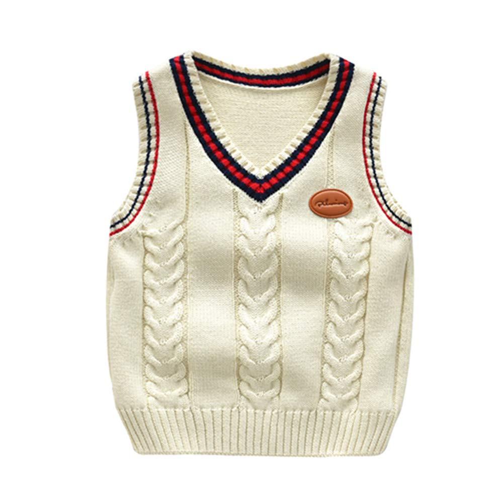 ZPW Little Boys Girls V-Neck Knit Sweater Vest Kids Uniforms