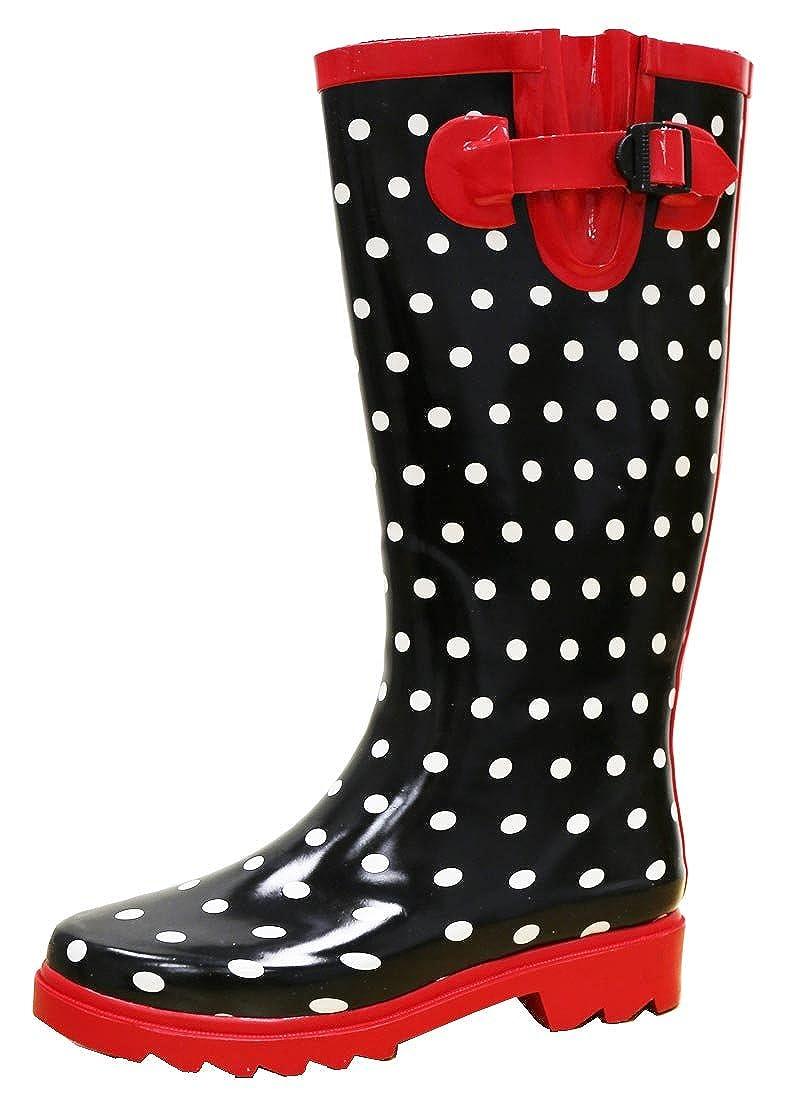 Black White Red Cambridge Select Women's Waterproof Pattern Print Knee High Welly Rain Boot
