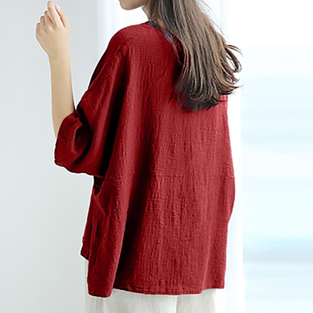 ❤️Camisas Ocasionales Flojas de Las Mujeres,Blusa de Cuello Redondo de Manga Corta de Lino de algodón Camisas Blusa Absolute: Amazon.es: Ropa y accesorios