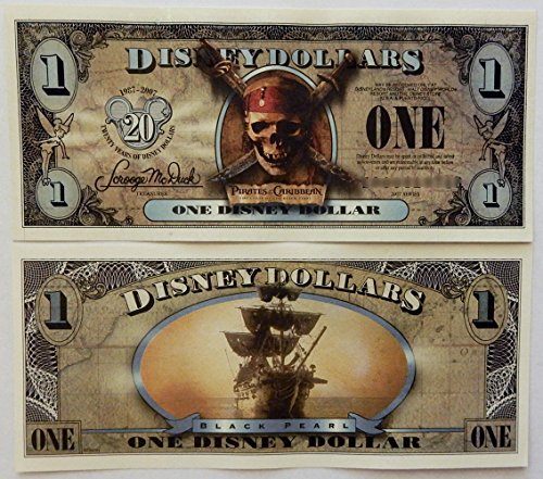 2007 Pirates of the Caribbean Disney Dollar (20th Anniversary) The Curse of the Black Pearl (Individual Serial Number) Uncirculated