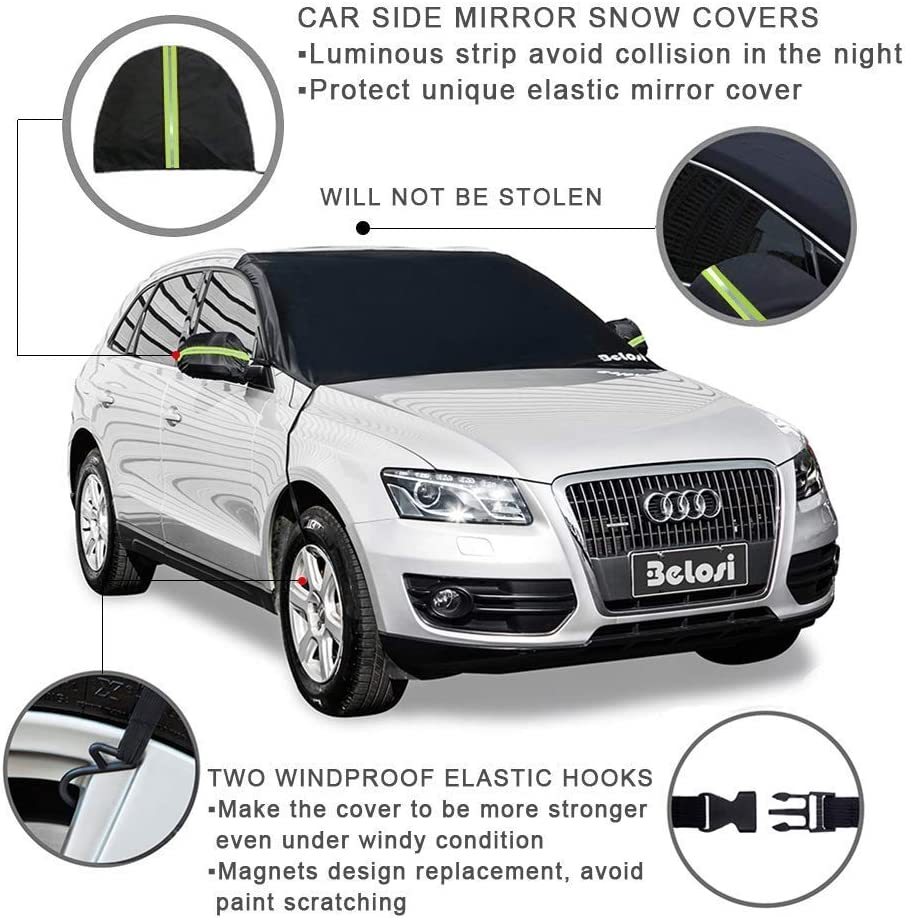 Green Double-Side Design Sun Shade Protector with Elastic Mirror Covers,Dual-Secure Fixture Design,Waterproof for Small Cars,Standard Pickup,SUV - 85 X 59X51 Belosi Car Windshield Snow Cover