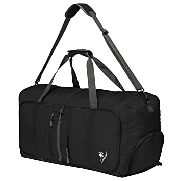 8fb81fb37208 Coreal 80L Foldable Travel Camping Duffle Luggage Bag with Shoe Compartment  Black