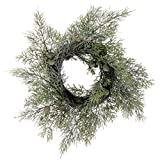 Snow Frosted Pine Christmas Candle Ring 12 Inches Diameter- Winter Centerpiece Pillar Candle Holder