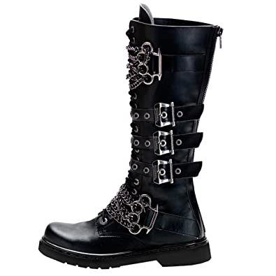9d3702673fa6e Summitfashions Mens Knee High Boots Black Shoes Brass Knuckles Vegan Combat  Boots 1 Inch Heel Size