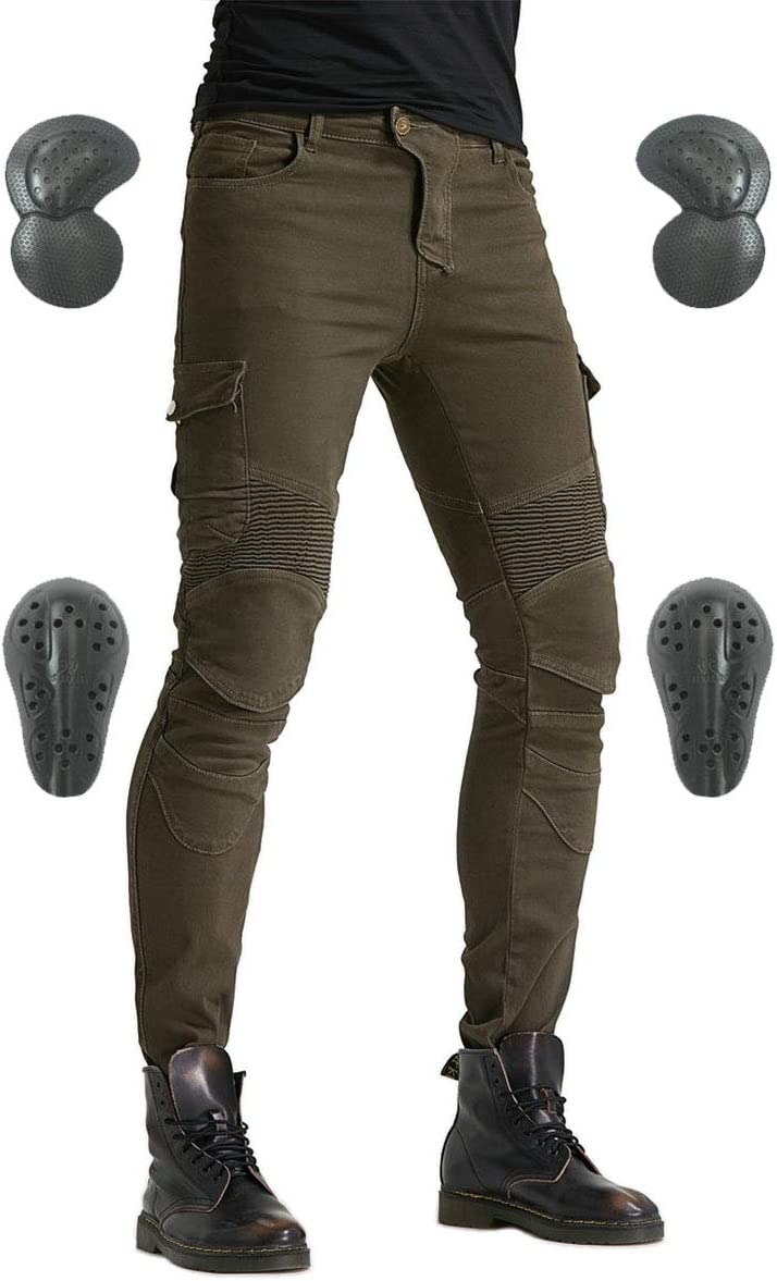 Army green, S=28 Mens Motorcycle Riding Pants Denim Jeans Protect Pads Equipment with Knee and Hip Armor Pads VES6