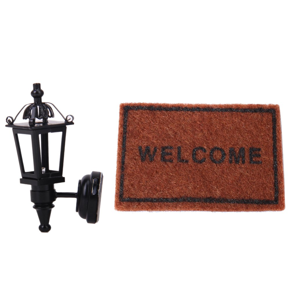 MonkeyJack 1:12 Scale Miniature Vintage LED Wall Lamp & Carpet ''Welcome'' Rug Floor Cover for Dollhouse Living Room Décor