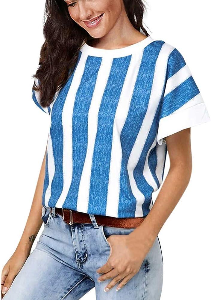Qingsiy Blusa Mujer de Fiesta de Mujer Elegantes Camisa Rayas de Verano Mujer Camiseta de Manga Corta con Estampado de Mangas Cortas para Mujeres en Verano Tops Blusa t Shirt(Azul, S): Amazon.es: