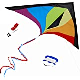 Best Delta 风筝,儿童及初学者易飞翔,单线带尾丝带,惊艳的颜色,大号,精心设计和测试 + * + *励