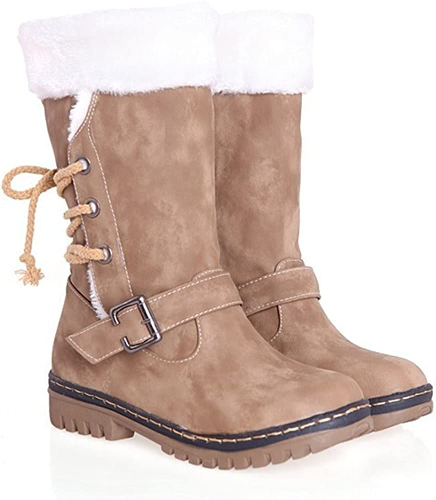 Cosplayjoy Women Winter Warm Mid-Calf Boots Fur Lined Snow Boots Buckle Combat Boots Plus Size