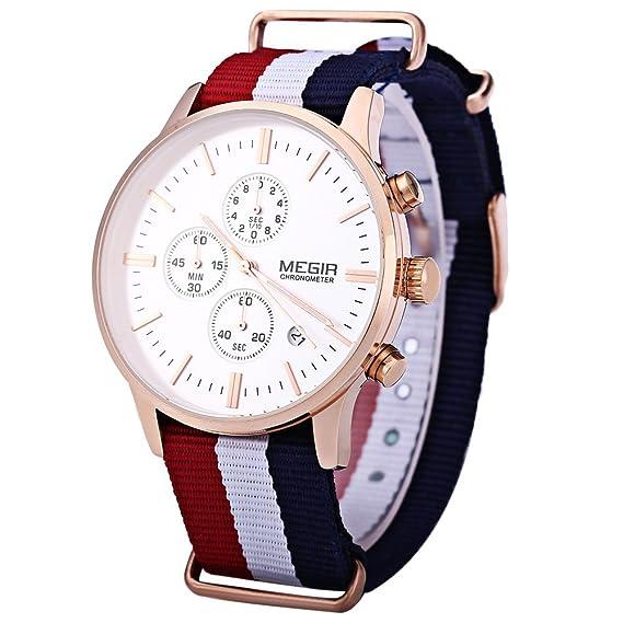 Leopardo tienda Megir hombre cuarzo reloj tres sub-dial de trabajo FECHA función # 2: Amazon.es: Relojes