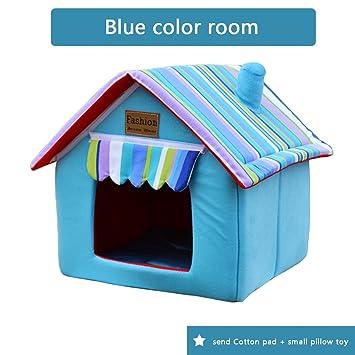 Nido de mascotas Nido de gato perrera Extraíble y lavable Plegable verano cuatro estaciones Perro de peluche Perros pequeños Casa de perro , blue , L: ...