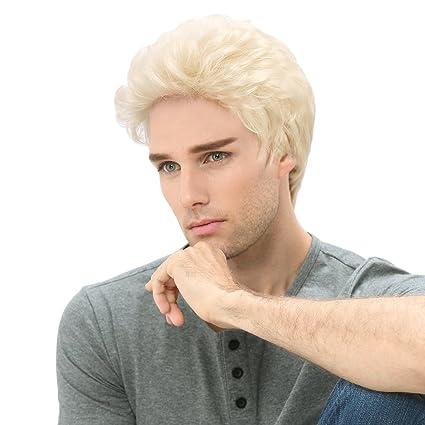 STfantasy Peluca rubio para hombre hombre hombre chico corto capas ondulado pelo sintético disfraz Cosplay diario