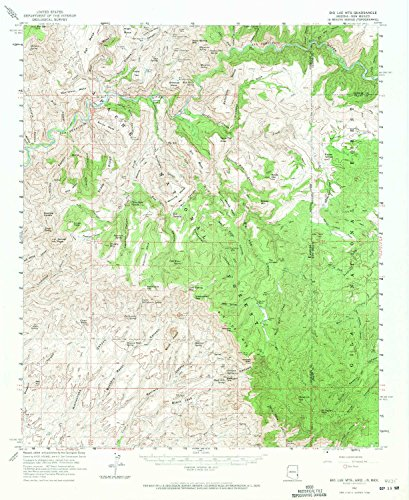 YellowMaps Big Lue Mts AZ topo map, 1:62500 scale, 15 X 15 Minute, Historical, 1962, updated 1971, 20.7 x 16.9 IN - Paper (Spring Water Cold Creek)