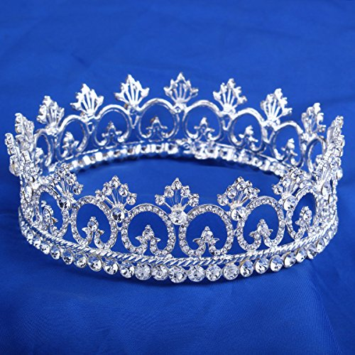 Price comparison product image FUMUD Women's Luxury Crystal Tiara Shining Rhinestone Crown for Pageant Wedding Bridal Beauty Contest Prom Party (Full Crown)