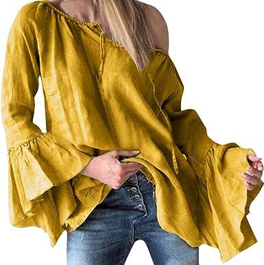 Blusa de Mujer Dama de Manga Larga con Volantes Camisa Mujer de Color sólido Camiseta Suelta de frenillo Blusa de Cuello Redondo con Corbata Tops de Elegante: Amazon.es: Ropa y accesorios