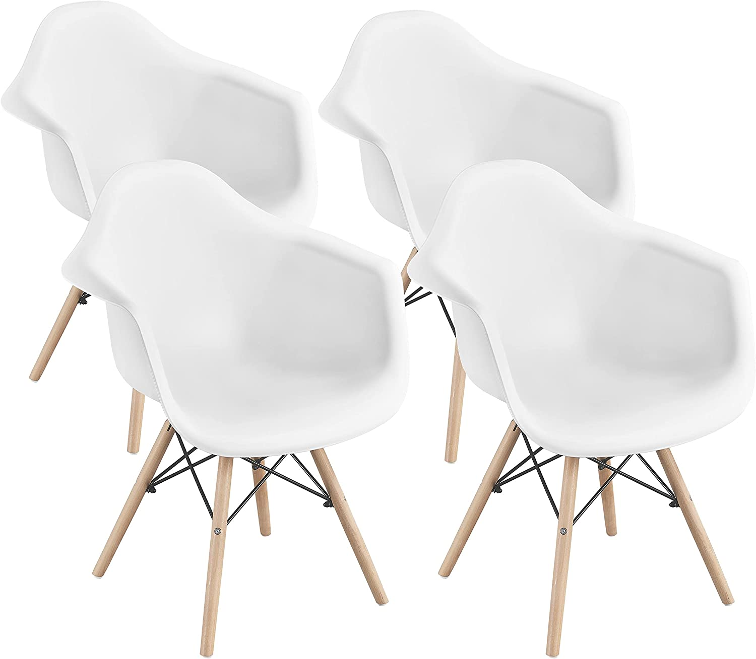 YAHEETECH 4pcs Dining Chair Modern Side Chair DSW Shell Eiffel Accent Chair with Armrests and Beech Wood and Metal Legs for Kitchen Lounge Dining Room Living Room Waiting Room Reception, White