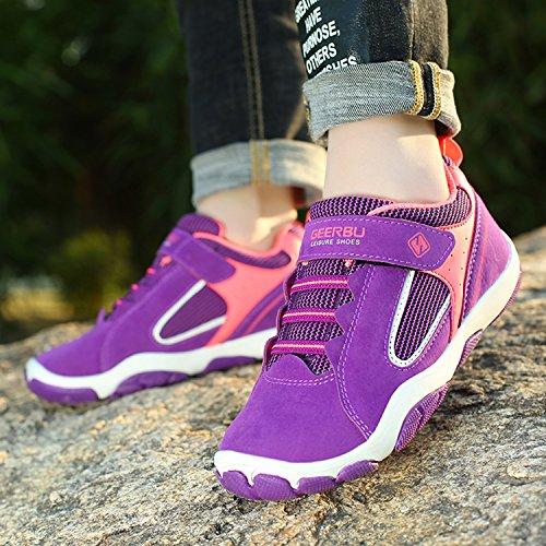 SAGUARO Jungen Trekking Wanderschuhe Kinderschuhe mit Klettverschluss Leicht Sport Schuhe Outdoor Laufschuhe Mädchen Turnschuhe Sneaker Neue-Lila