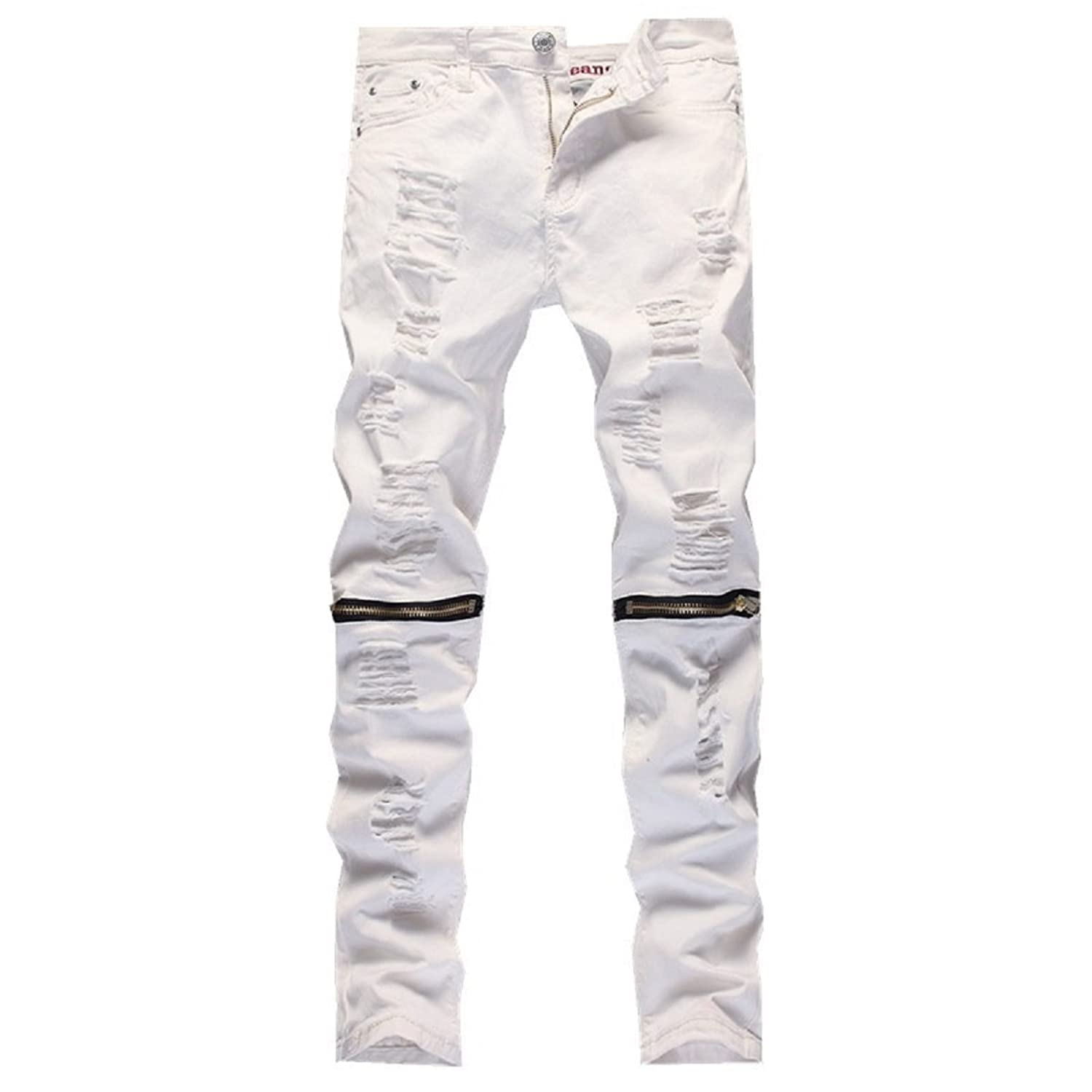 PGXT Men's Ripped Skinny Distressed Destroyed Straight Holes Zipper Jeans