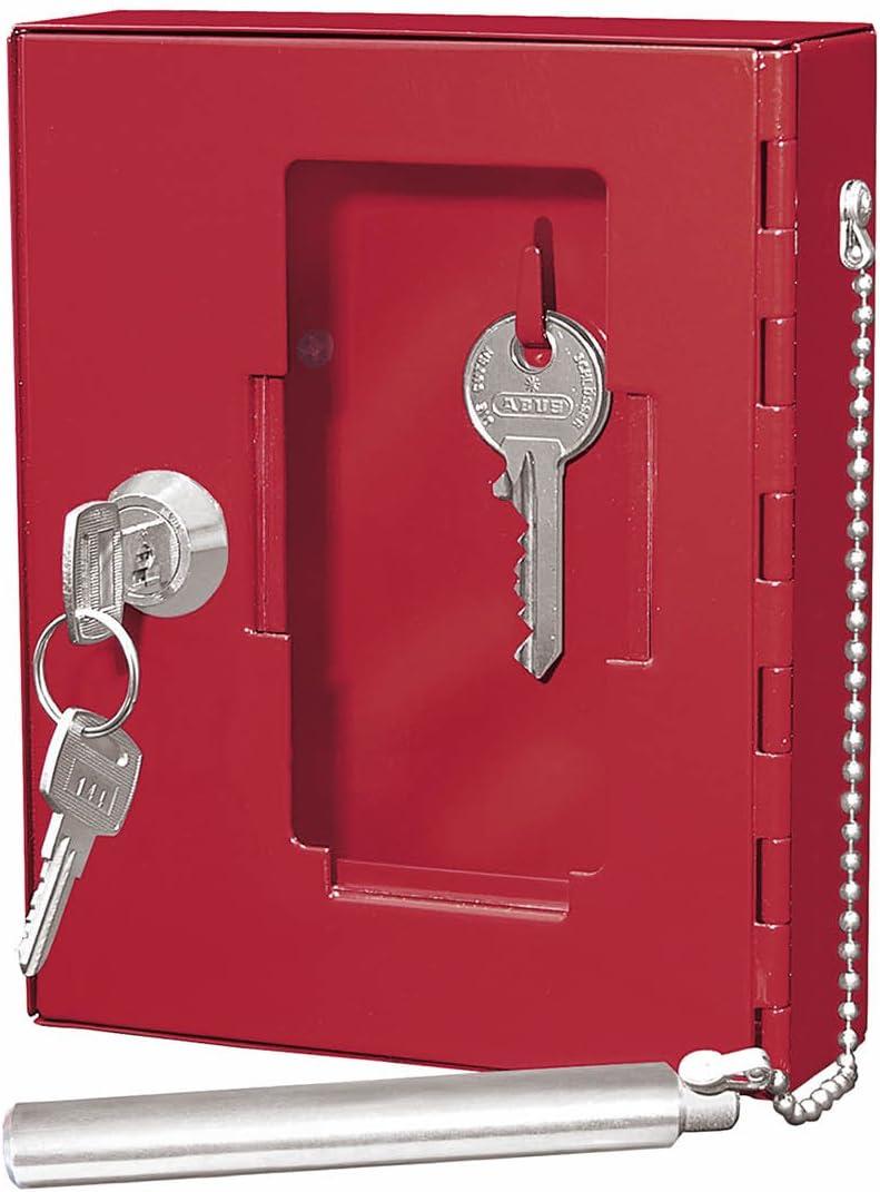 Wedo - Caja de pared para llaves de emergencia (puerta con cristal, varilla de acero, cristal de repuesto), color rojo