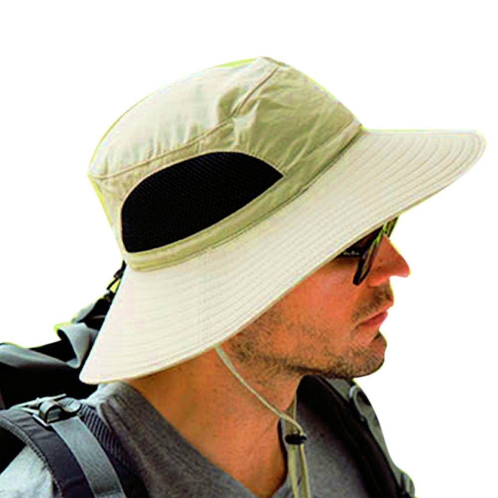 POPPAP Men s Fishing Sun Hats,Summer Outdoor Wide Brim Bucket Windproof Fishing Activity UV Protective String Adjustable Hat