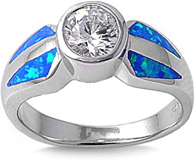 CloseoutWarehouse Round Center Blue Simulated Opal Ring 925 Sterling Silver Size 9
