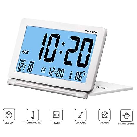 CESHUMD Pequeño reloj digital de alarma de viaje Retroiluminación plegable, Pantalla LCD Reloj despertador con