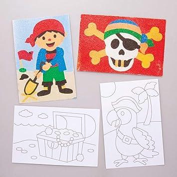 Baker Ross- Dibujos de piratas para decorar con arena (Pack de 8) - Actividad de manualidades infantiles para decorar y exhibir: Amazon.es: Juguetes y juegos
