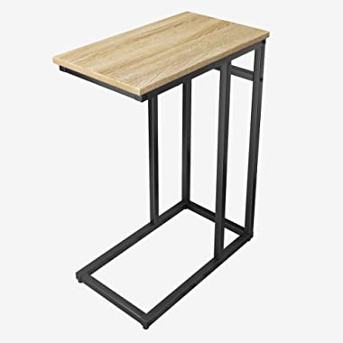 Homemaxs Sofa Side End Table C Table for Small Space, Snack Table with Wood Finish and Steel Construction for Coffee, Snack, Tablet