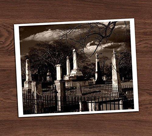 (Creepy Haunted Graveyard Cemetery Sepia Black White Vintage Photo Art Print 8x10 Wall Art Halloween)