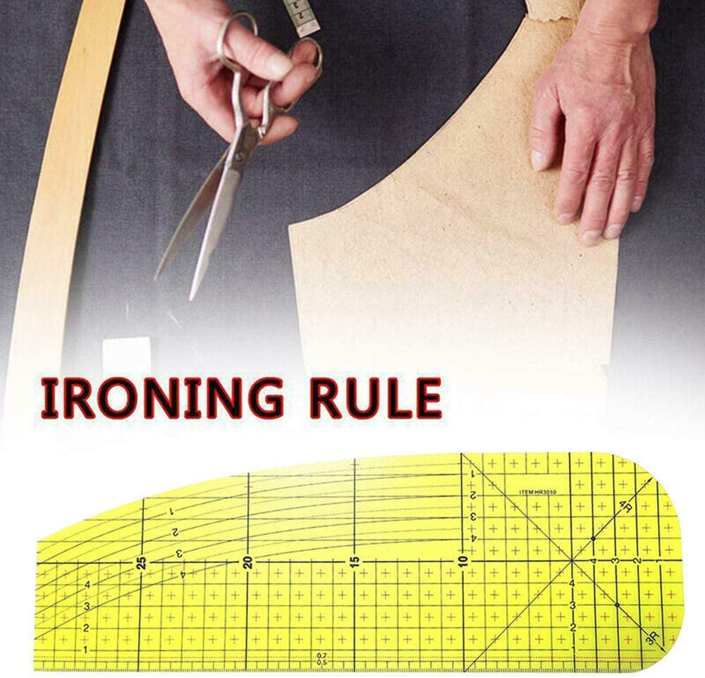 beyonday 2pcs Handmade Craft Cloth Hot Ironing Measuring Ruler for Clothing Making DIY Sewing Supplies Patchwork Sewing Tools Yellow
