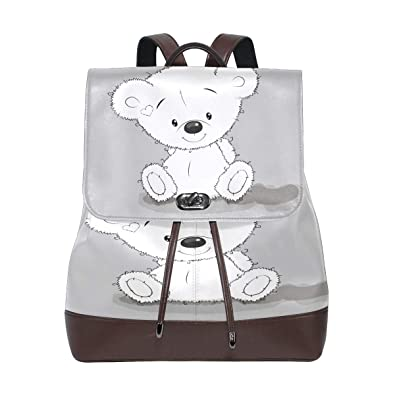 e8d2bd5ce074 Womens Leather Backpack Funny White Bear Travel Shoulder Bag for Girls  Ladies