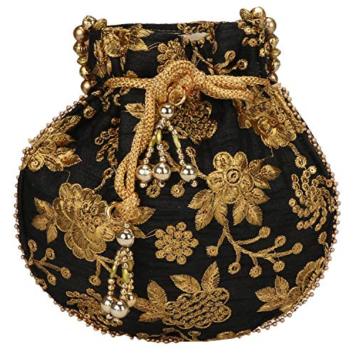 (Indian Ethnic Designer Embroidered Silk Potli Bag Batwa Pearls Handle Purse (Black))