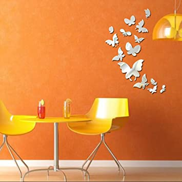 Butterfly Mirror Wall Decor 3D Sticker For Living Room Decals Bedroom