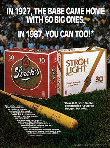 1987 Stroh's Beer + Light-30 Can Cases-Louisville Slugger- Original Magazine Ad (Best Of Louisville Magazine)