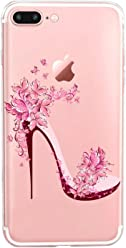 GIRLSCASES® | iPhone 8 Plus / 7 Plus Hülle | Im Blumen-Highheels Motiv Muster | in rosa bunt | Fashion Case transparente Schutzhülle aus Silikon
