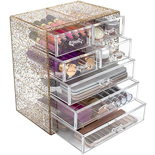 Sorbus Glitter Cosmetic Makeup and Jewelry Storage Case Rose Gold Display - Spacious - Great for Bathroom, Dresser, Vanity, and Countertop (3 Large, 4 Small Drawers, Glitter)