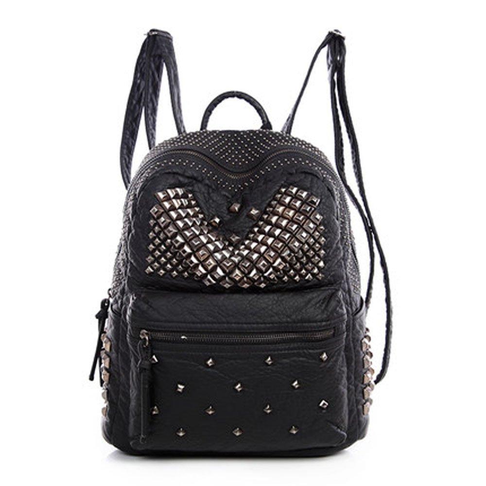 Catkit Womens Rivet Studded Punk Style Tote Handbag Preppy Shoulder Bag Student Backpack Black